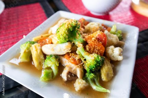 Fotografie, Obraz  Delicious Fried broccoli with shrimp