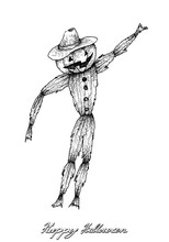 Holidays And Celebrations, Illustration Hand Drawn Sketch Of Scarecrow Isolated On White Background. Sign For Halloween Festival.