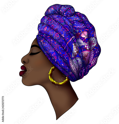 Keuken foto achterwand Art Studio Portrait of beautiful young african woman in traditional turban with ethnic geometric ornament on a white background.
