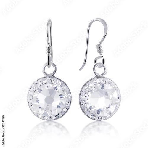 Fotografie, Obraz beautiful white diamon earrings with reflection on white background