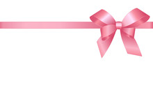 Decorative Pink Bow With Horizontal Pink Ribbons Isolated On White.