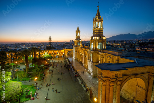 The Basilica Cathedral of Arequipa on sunset Fototapet