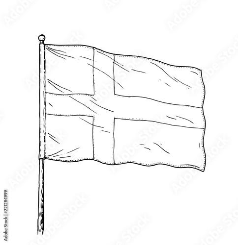 Flag of Sweden or Denmark drawing - vintage like illustration of triple colour flag Tapéta, Fotótapéta