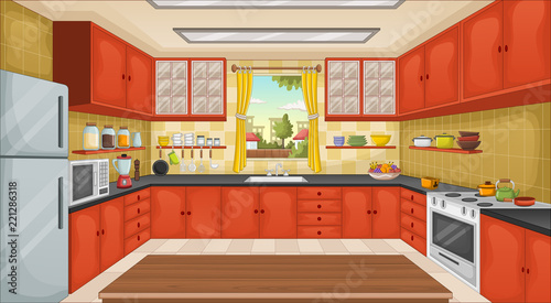 Fotomural Colorful kitchen with utensils. House in the suburb.