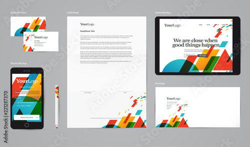 Cuadros en Lienzo Corporate identity vector mockup with basic stationery set