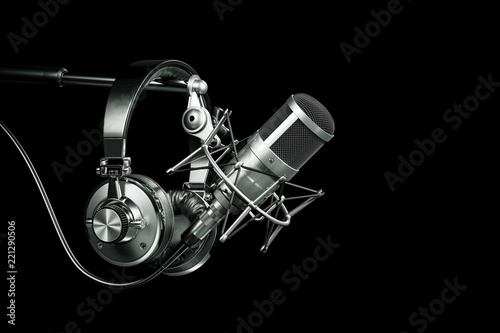 Cuadros en Lienzo Audio recording studio equipment, Headphones on microphone stand