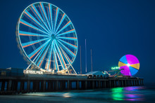 Steel Pier By Night Atlantic C...