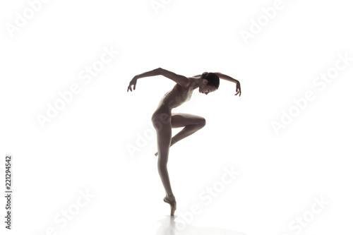 Fotografiet Young graceful female ballet dancer or classic ballerina dancing isolated on white studio
