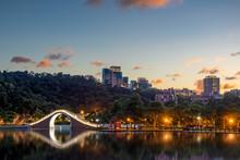 Moon Bridge In Dahu Park At Night In Taipei City, Taiwan.