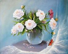 Bouquet Of Peonies Flowers. Painting. Painting With Oil Paints