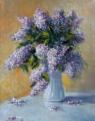 Fototapeta Do sypialni Bouquet of lilac flowers. Painting. Painting with oil paints