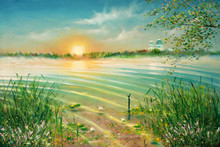 Sunrise On The Lake. Painting. Painting With Oil Paints