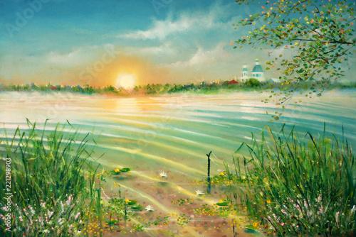 Sunrise on the lake. Painti...
