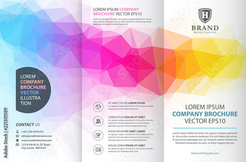 Fototapeta Abstract colorful geometric trifold brochure design template obraz