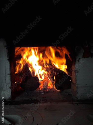Flame, fairewood, fire., russian stove