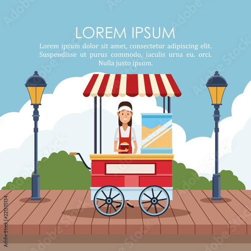 In de dag Doodle Food stand poster