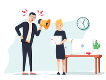 Vector Cartoon Illustration Of Angry Boss And Frightened Employee. Man Standing Near The Table