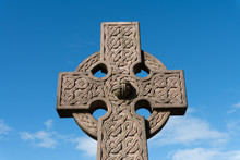 The Top Of A Fine Carved Celtic Cross Gravestone Memorial Close To Stirling Castle In Scotland.