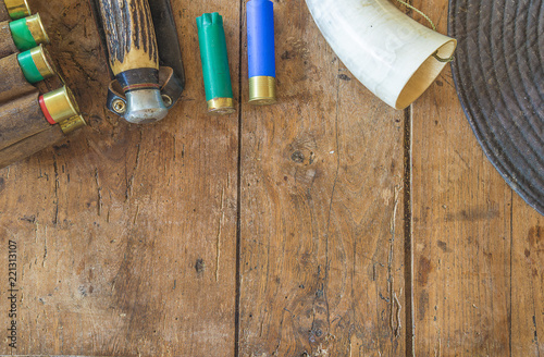 Foto op Aluminium Jacht Hunting equipment on vintage wooden background with copy space