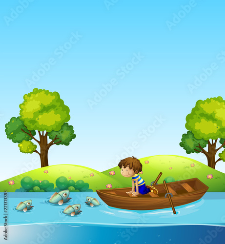 Canvas Prints River, lake A boy on the boat watching fish