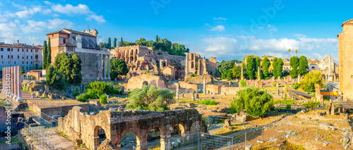 Fotografie, Obraz  majestic Roman ruins in ancient Rome at sunrise. Italy.