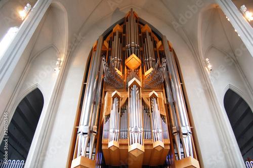Fényképezés  Interiors and organ of Hallgrimskirkja in Reykjavik