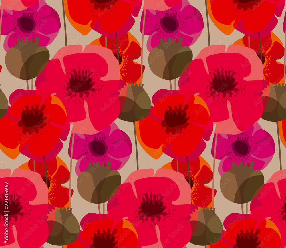 Shabby natural form poppy flower meadow <span>plik: #221315967 | autor: galyna_p</span>