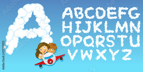 English alphabet cloud font