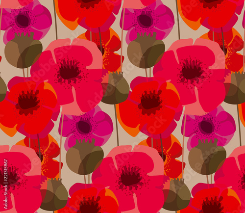 Shabby natural form poppy flower meadow - 221315967