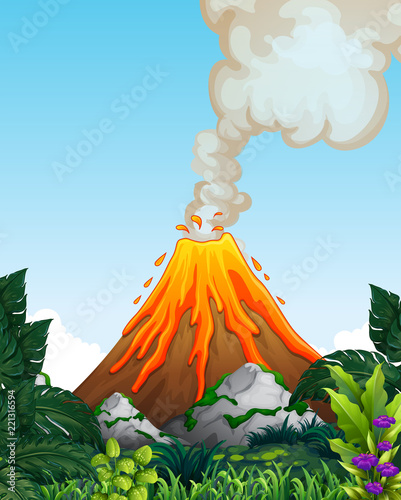 A dangerous volcano eruption Canvas