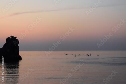 Fotobehang Pier sunrise at sea