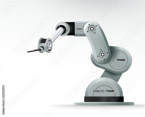 Fotografía Industrial machine robotic hand arm machinery factory