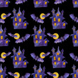 seamless watercolor pattern for halloween