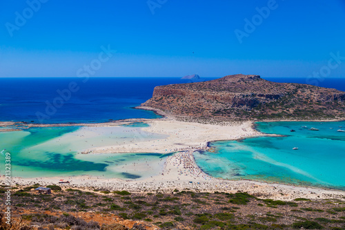 Deurstickers Zalm Amazing view of Balos Lagoon with magical turquoise waters, lagoons, tropical beaches of pure white sand and Gramvousa island on Crete, Greece