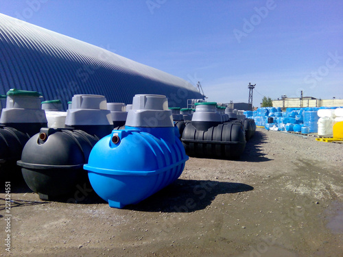 Photo  Septic tanks and other storage tanks at the manufacturer factory depot