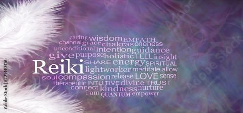 Photo  Angelic REIKI Word Cloud Rustic Banner  - two white feathers with a REIKI word c