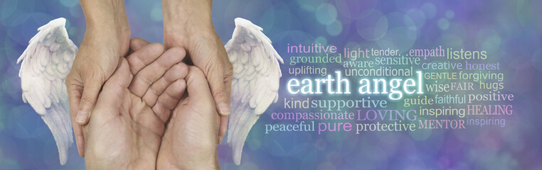 Every Carer is an Earth Angel - white angel wings either side of female hands cupped around male hands beside an EARTH ANGEL word cloud on blue bokeh background