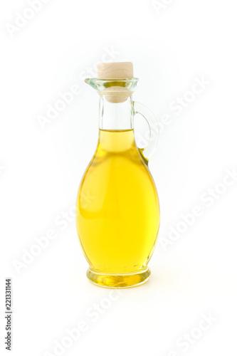 Fototapeta Olive Oil in a Glass Bottle on White obraz