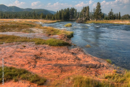 Spoed Foto op Canvas Zalm Yellowstone is a Popular National Park in Montana, Wyoming, and Idaho