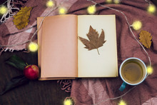 Still Life With Top View Apple, Tea And   Vintage Book With Place For Text