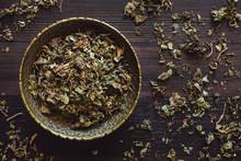 Brass Bowl Of Dried Patchouli