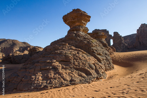 Amazing rock formation in Tadrart Rouge. Tassili n'Ajjer National Park, Algeria