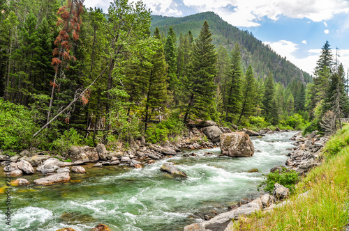 Tableau sur Toile The Waters of the Gallatin River Flow Down From the Mountains of Montana