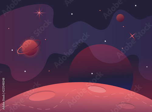 Tuinposter Aubergine Flag in space.Milky Way.Red planet landscape vector illustration.Background for text.Surface of the planet craters.Space decoration design.Stars and comets on starry background.cosmic banner.Mars