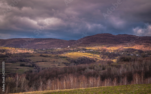 Tuinposter Lavendel Landscapes of Autumn Carpathian Mountains
