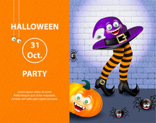 Cute Spider On Cobweb, Orange Pumpkin With Happy Monster Face, Purple Witch Hat And Legs With Striped Stockings On White Banner With Text Happy Halloween On Gray Background