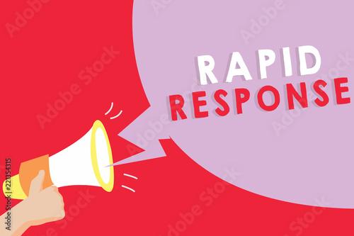 Fotografiet  Text sign showing Rapid Response