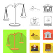 Isolated object of law and lawyer sign. Set of law and justice vector icon for stock.