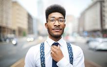 Handsome Elegant Man Wearing Tie And Suspenders
