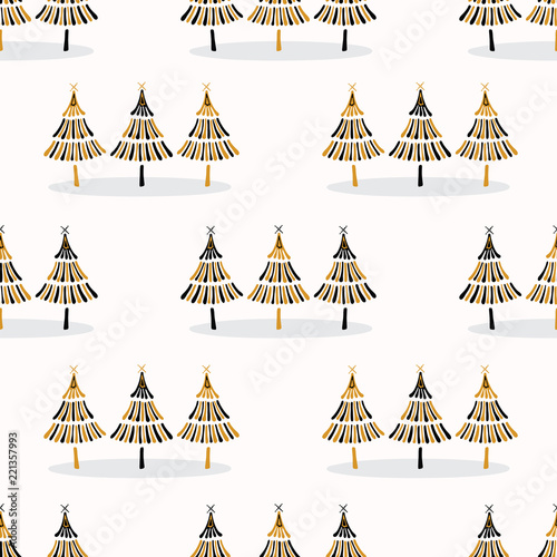 Foto  Festive Christmas Trees Star Pattern, Hand Drawn Seamless Vector Backdrop, Folk